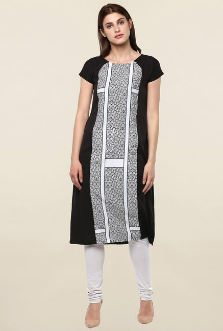 Janasya Off White & Black Printed Crepe Kurta