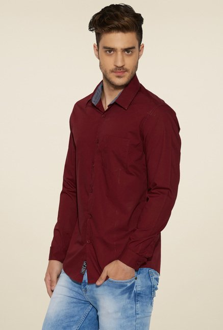 Globus Maroon Regular Fit Shirt