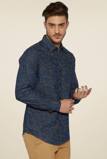 Globus Navy Printed Full Sleeves Shirt