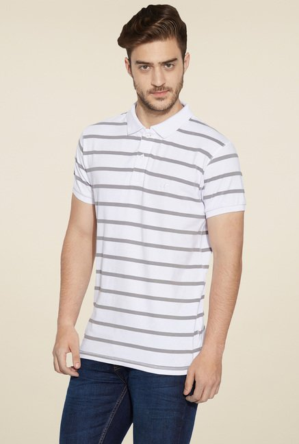 Globus White Regular Fit Polo T-Shirt
