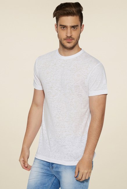 Globus White Round Neck T-Shirt