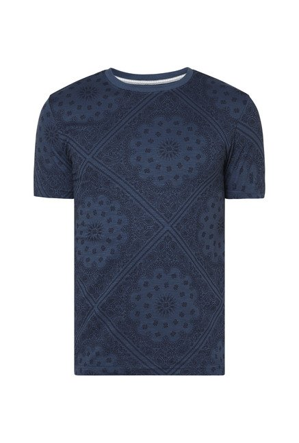 Zudio Indigo Paisley Print Slim Fit T Shirt
