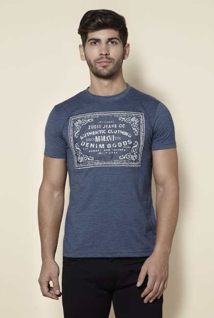 Zudio Indigo Slim Fit Crew Neck T Shirt