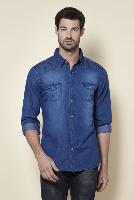 Zudio Blue Slim Fit Denim Shirt