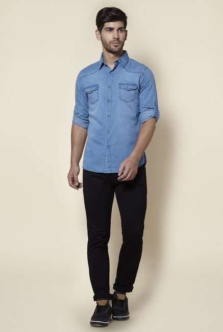 Zudio Light Blue Slim Fit Denim Shirt