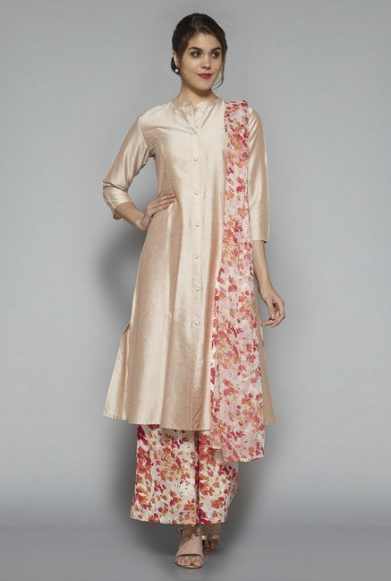 Vark by Westside Gold & Beige Solid Suit Set