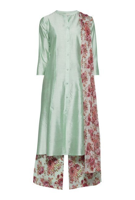 Vark by Westside Sea Green Solid Suit Set