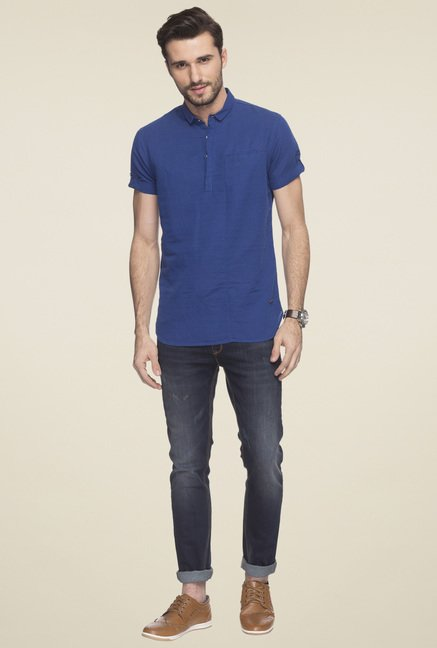Status Quo Royal Blue Half Sleeves Linen Blend Shirt
