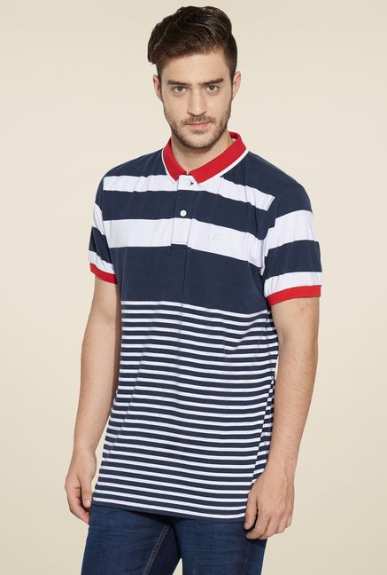 Globus Navy & White Regular Fit Polo T-Shirt
