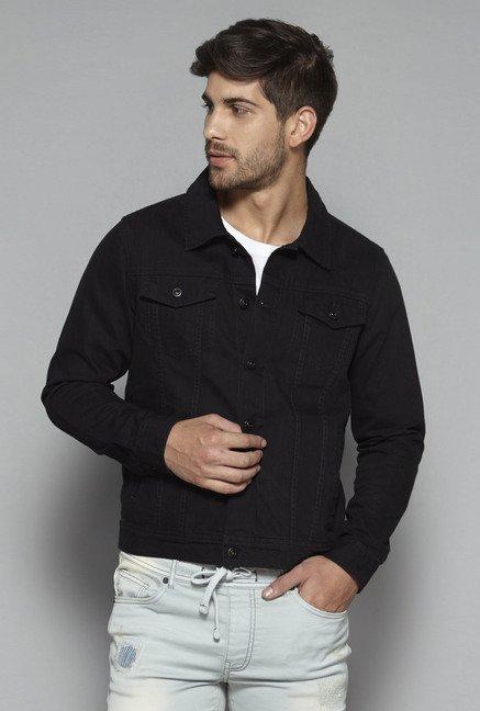 23f4a1ab67d74 Buy Nuon by Westside Black Slim Fit Denim Jacket for Men Online   Tata CLiQ