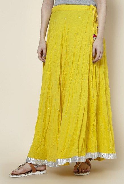 Zudio Yellow Printed Skirt