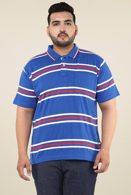 John Pride Blue Regular Fit Polo T-Shirt