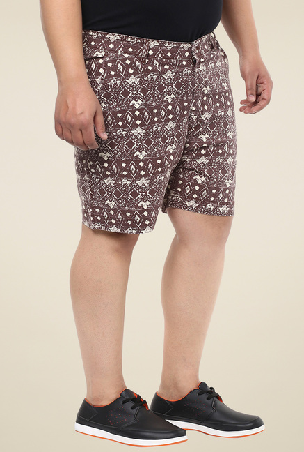John Pride Brown Printed Shorts