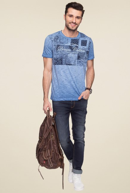 Status Quo Blue Round Neck Cotton T-Shirt