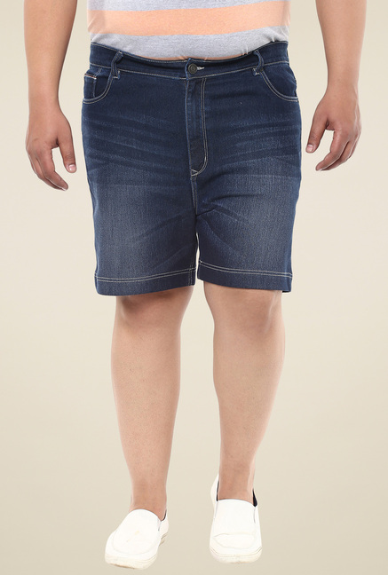 John Pride Blue Regular Fit Denim Shorts