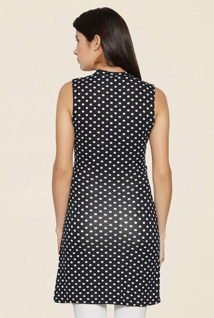 Globus Black Polka Dot Knotted Bodycon Dress