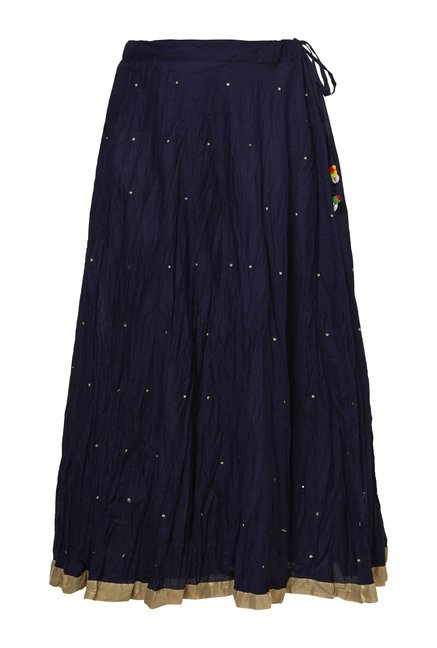 Zudio Indigo Printed Skirt
