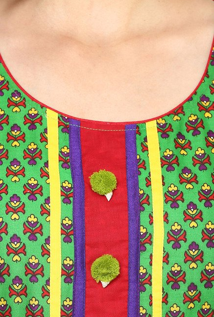 Aujjessa Red & Green Printed Cotton Anarkali Kurta