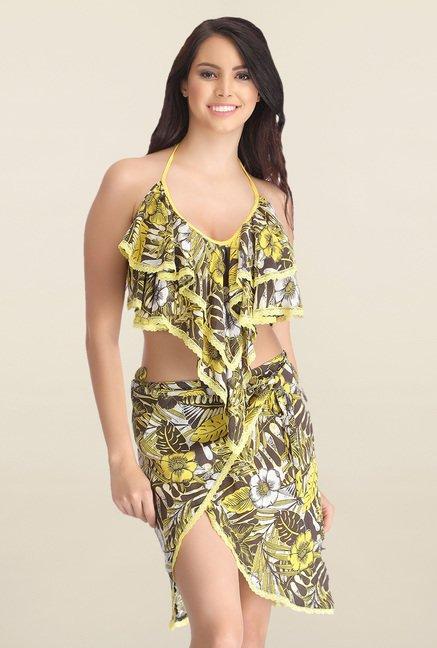 Clovia Yellow Floral Print Beachwear