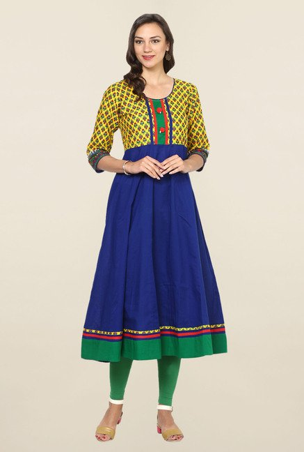 Aujjessa Blue & Yellow Printed Cotton Anarkali Kurta