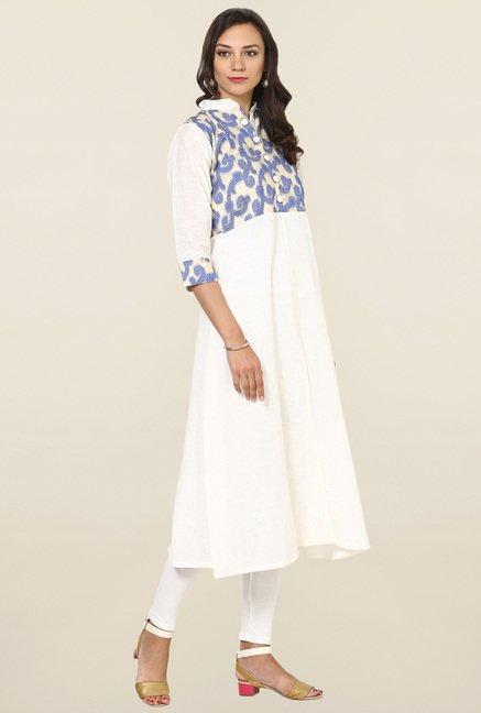 Aujjessa Off White Printed Cotton Anarkali Kurta