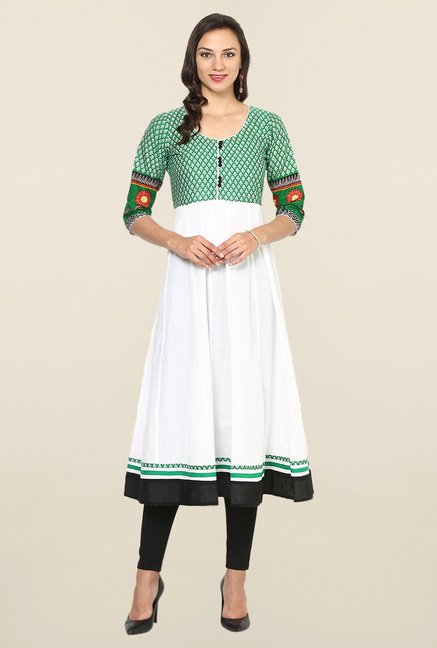 Aujjessa White & Green Printed Cotton Anarkali Kurta