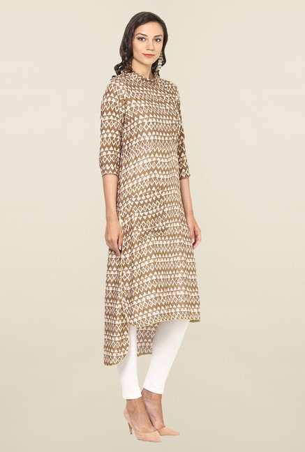 Aujjessa Beige Geometric Print Rayon High Low Kurta