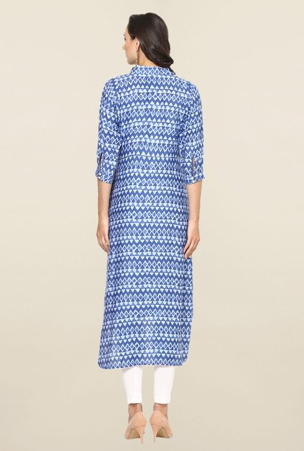 Aujjessa Blue Geometric Print Rayon High Low Kurta