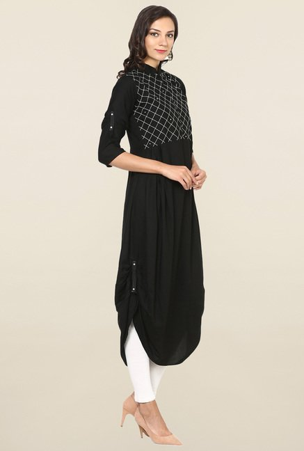 Aujjessa Black Checks Rayon A Line Draping Kurta