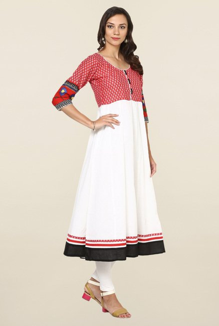 Aujjessa White & Red Printed Cotton Anarkali Kurta