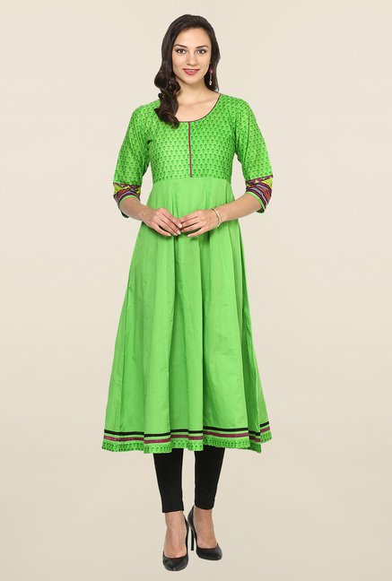Aujjessa Green Printed Cotton Anarkali Kurta