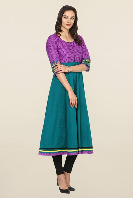 Aujjessa Teal & Purple Printed Cotton Anarkali Kurta