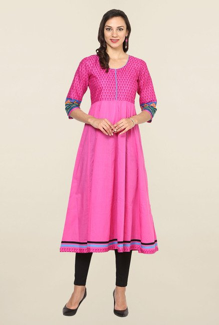 Aujjessa Pink Printed Cotton Anarkali Kurta