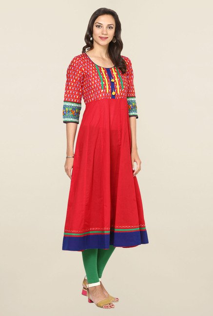 Aujjessa Red Paisley Print Cotton Anarkali Kurta