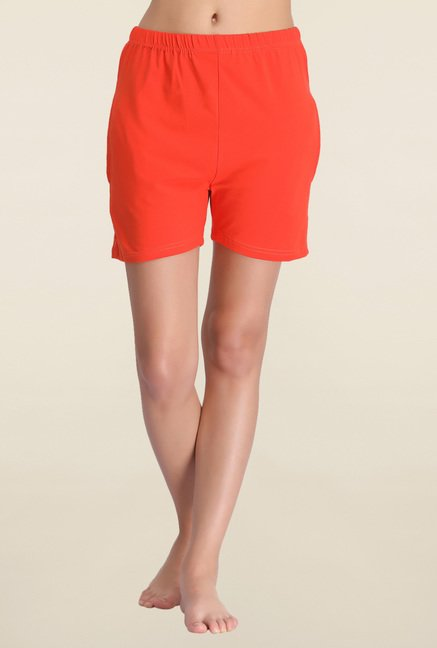 Clovia Orange Solid Shorts