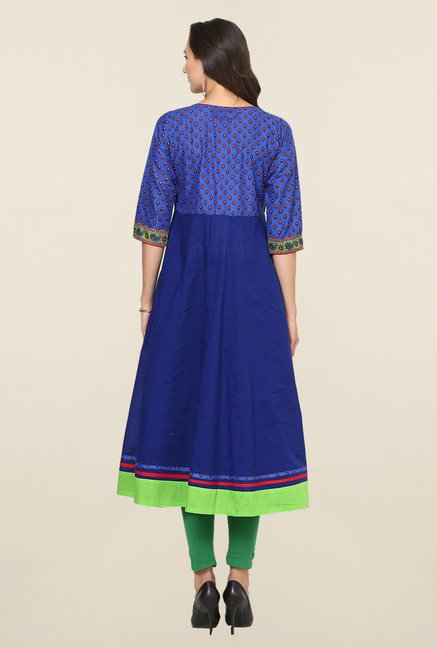 Aujjessa Blue Printed Cotton Anarkali Kurta