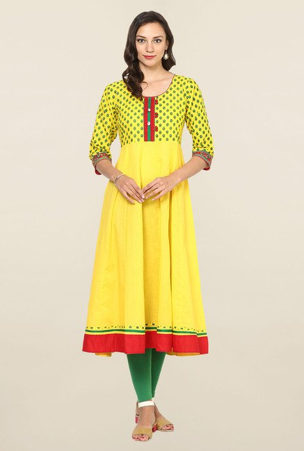 Aujjessa Yellow Printed Cotton Anarkali Kurta