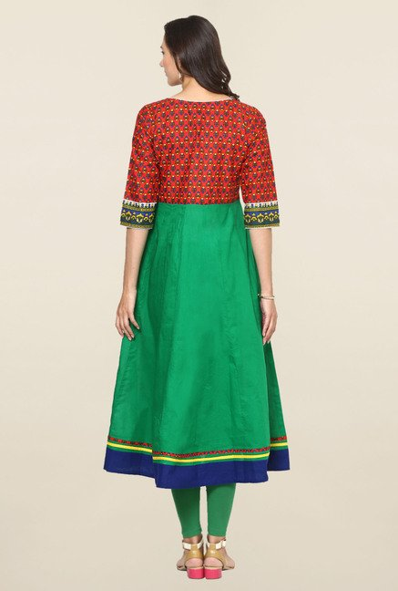 Aujjessa Green & Red Printed Cotton Anarkali Kurta