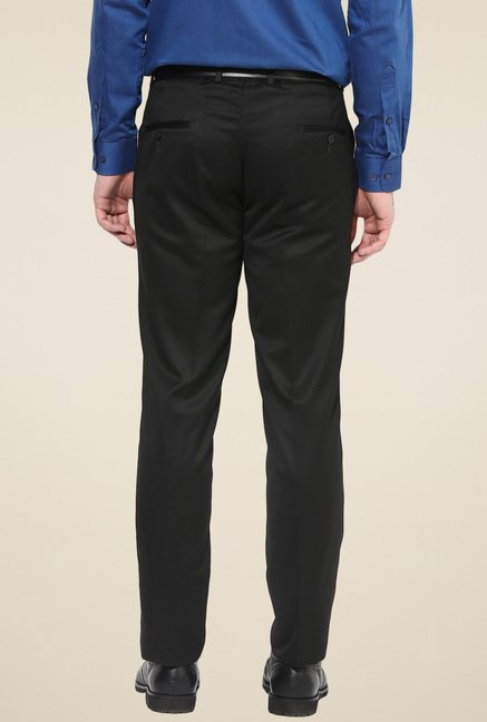 Turtle Black Flat Front Slim Fit Trousers