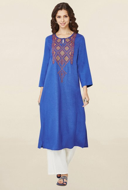 Global Desi Blue Embroidered Kurta