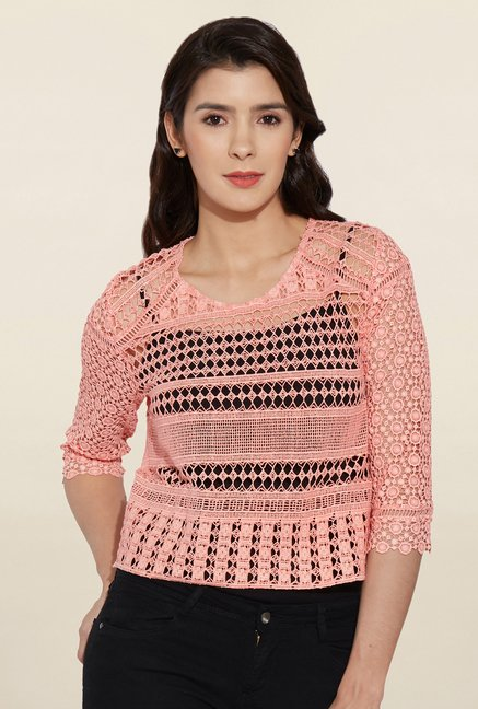 5b7fc16754a91 Buy Kraus Peach Lace Top for Women Online   Tata CLiQ
