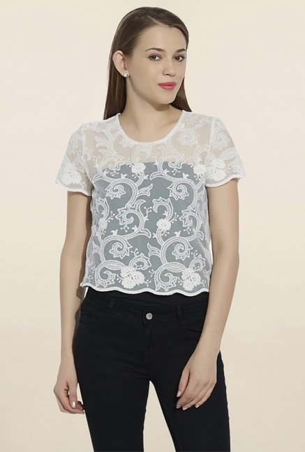 bda897a89c6 Buy Kraus Off White Lace Top for Women Online   Tata CLiQ