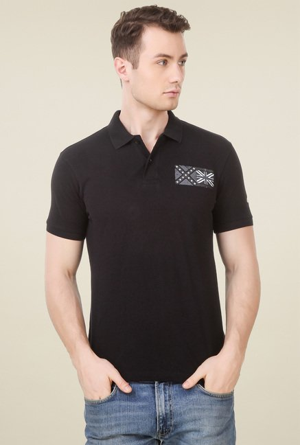 Spunk Black Regular Fit Polo T-Shirt