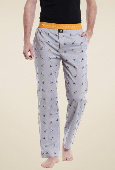 bieten eine große Auswahl an Wählen Sie für echte süß Jack & Jones Grey Printed Regular Fit Pyjamas