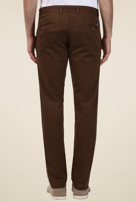 Parx Brown Tapered Fit Trousers