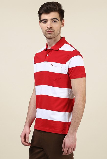 Parx Red & White Regular Fit Polo T-Shirt