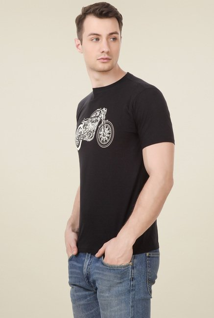 Spunk Black Regular Fit T-Shirt
