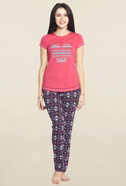 3d14c08e073 Buy Sweet Dreams Dark Pink   Black Embroidered Pyjama Set for Women Online    Tata CLiQ