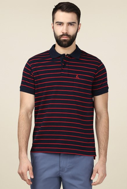Parx Black Half Sleeves Polo T-Shirt