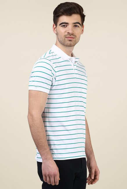 Parx White Cotton Regular Fit Polo T-Shirt